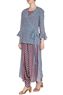 Powder Blue Printed Dhoti Jumpsuit With High-Low Jacket by Soup by Sougat Paul
