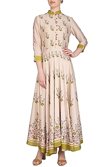Off White Embroidered Printed Draped Anarkali Dress by Soup by Sougat Paul