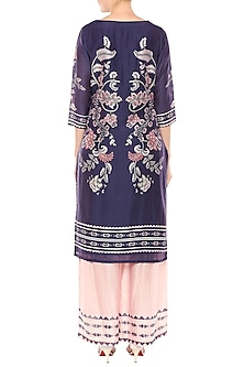 Navy Blue & Pink Printed Kurta With Palazzo Pants by Soup by Sougat Paul