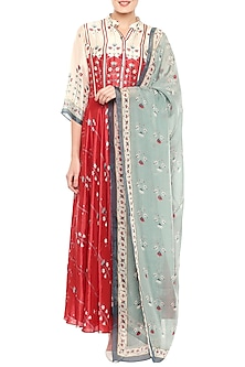 Multi Colored Anarkali Gown With Dupatta by Soup by Sougat Paul