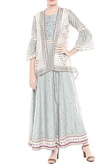 Greyish Blue & Off White Printed Dress With Asymmetrical Jacket by Soup by Sougat Paul