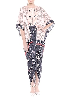 Multi Colored Printed Draped Dress With Asymmetric Cape Jacket by Soup by Sougat Paul