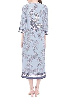 Blue Printed Midi Dress by Soup by Sougat Paul