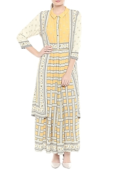 Yellow & Beige Printed Maxi Dress with Jacket by Soup by Sougat Paul