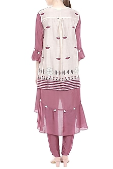 Maroon & Off White Top With Pants & Printed Jacket by Soup by Sougat Paul