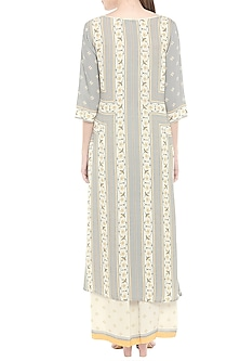 Grey & Off White Printed Kurta With Palazzo Pants by Soup by Sougat Paul