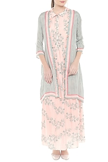 Pink & Blue Printed Maxi Dress With Jacket by Soup by Sougat Paul