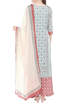 Pink & Blue Printed Kurta Set by Soup by Sougat Paul