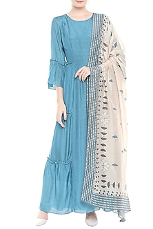 Blue Kurta With Off White Printed Dupatta by Soup by Sougat Paul