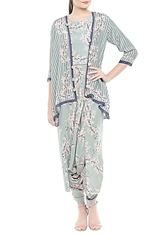 Blue Printed Jumpsuit With Jacket by Soup by Sougat Paul