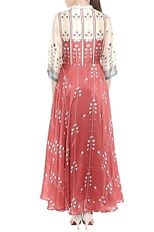 Red & Beige Printed Maxi Dress by Soup by Sougat Paul