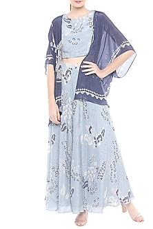 Blue Printed Crop Top With Skirt & Cape by Soup by Sougat Paul