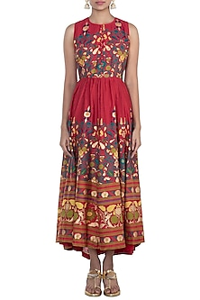 Red Printed Maxi Dress by Surendri by Yogesh Chaudhary