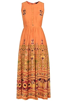 Orange Hand Printed Maxi Dress