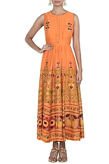 Orange Hand Printed Maxi Dress by Surendri by Yogesh Chaudhary