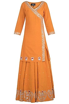 Orange Embroidered Lehenga Set by Surendri by Yogesh Chaudhary