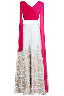 Pink & White Sharara Set