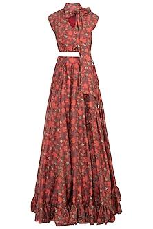 Red & Orange Printed Skirt With Crop Top