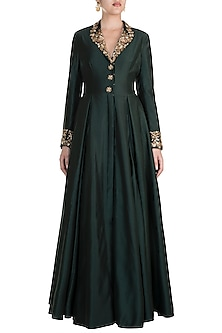 Green Embroidered Jacket Gown by Samant Chauhan