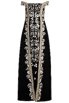 Black Embroidered Off Shoulder Gown by Samant Chauhan