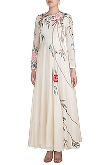 Off White Silk Embroidered Jacket Gown by Samant Chauhan