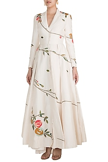 Off White Embroidered Jacket Gown by Samant Chauhan