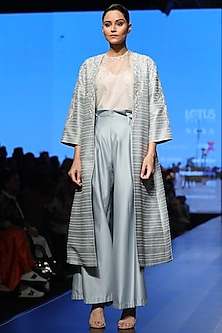 Powder Blue Embroidered Jacket With Shirt, Slip & Palazzo Pants by Samant Chauhan