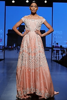 Peach Embroidered Gown by Samant Chauhan