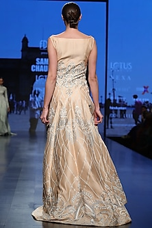 Peach Embroidered Front Open Gown by Samant Chauhan