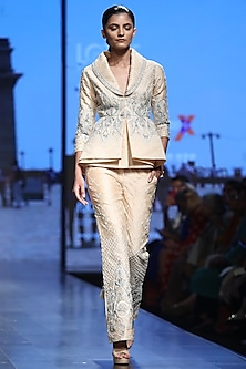 Peach Jacket With Pants by Samant Chauhan