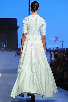 Mint Green Embroidered Front Open Gown by Samant Chauhan