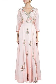 Peach Embroidered Anarkali Gown by Samant Chauhan