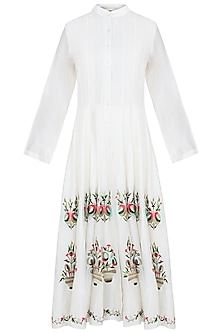Off White Embroidered Anarkali Style Short Dress by Samant Chauhan