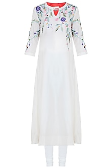 Off White Embroidered Kurta With Churidar Pants by Samant Chauhan