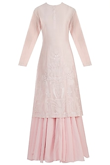 Pink Embroidered Kurta With Inner Dress