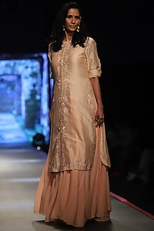 Peach Embroidered Kurta With Inner Dress by Samant Chauhan