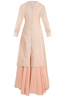 Peach Embroidered Kurta With Inner Dress