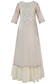 Grey Embroidered Kurta With Off White Inner Dress