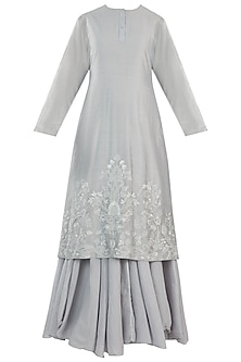 Powder Blue Embroidered Kurta With Inner Dress