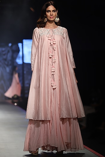 Pink Embroidered Kurta With Maxi Inner Dress by Samant Chauhan