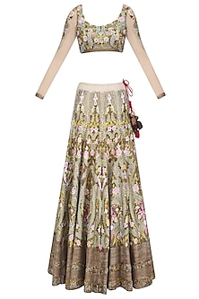 Light Green and Pink Sequins and Bead Embroidered Lehenga Set by Samant Chauhan