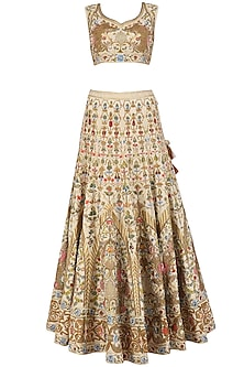 Ivory and Gold Embroidered Lehenga and Blouse Set