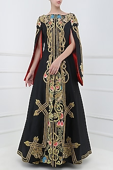 Black Embroidered Front Open Gown by Samant Chauhan