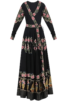 Black Embroidered Gown by Samant Chauhan