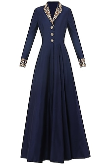 Navy Blue Embroidered Front Open Gown by Samant Chauhan