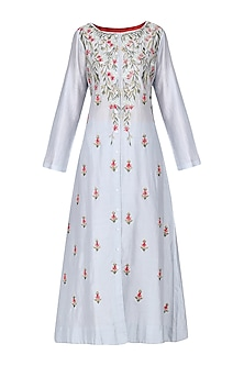 Prussian Blue Front Open Embroidered Kurta
