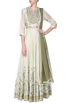 Off White and Sea Green Embroidered Anarkali Gown Set by Samant Chauhan