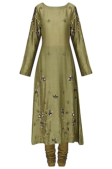 Olive Green Embroidered Kurta with Churidar Pants
