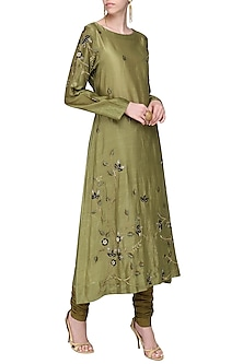 Olive Green Embroidered Kurta with Churidar Pants by Samant Chauhan