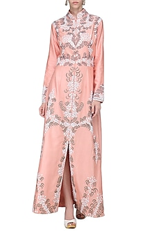 Pink Embroidered Front Open Jacket with Cream Inner by Samant Chauhan